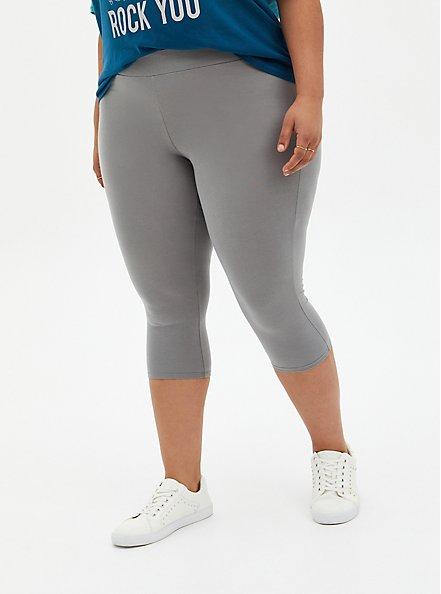 Plus Size Capri Premium Legging - Light Grey, GREY, alternate