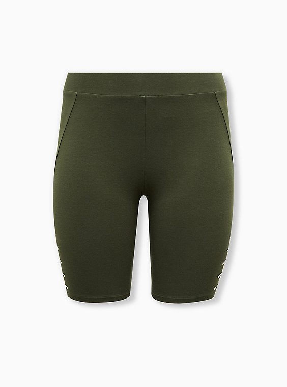 Plus Size Olive Green Slashed Side Bike Short, BLACK, hi-res