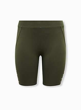 Olive Green Slashed Side Bike Short, BLACK, hi-res