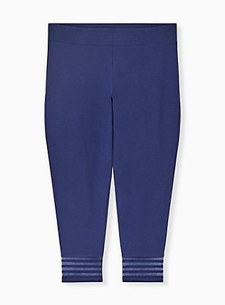 Crop Premium Legging - Shadow Stripe Navy, BLUE, alternate