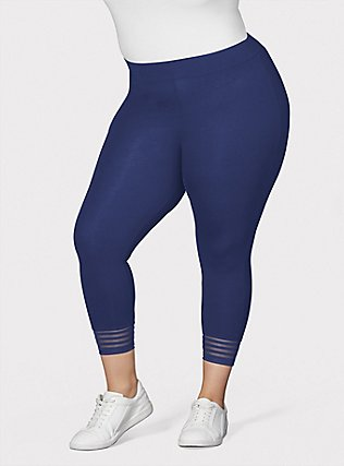Crop Premium Legging - Shadow Stripe Navy, BLUE, hi-res