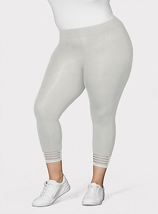 Crop Premium Legging - Shadow Stripe White, WHITE, hi-res