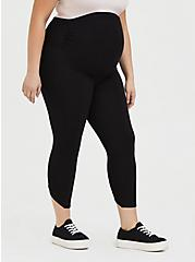 Crop Maternity Premium Legging - V-Back Black, BLACK, alternate