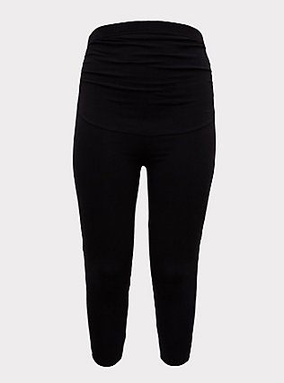 Crop Maternity Premium Legging - V-Back Black, BLACK, flat