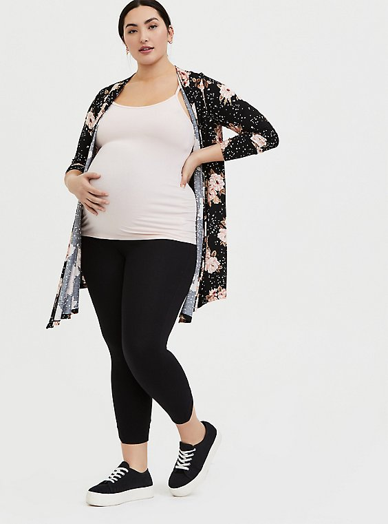 Crop Maternity Premium Legging - V-Back Black, BLACK, hi-res