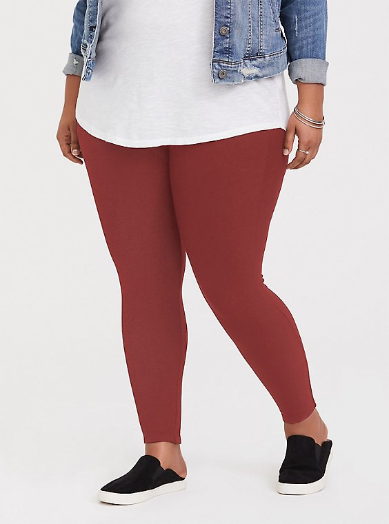 Plus Size Premium Legging - Brick Red, BROWN, hi-res