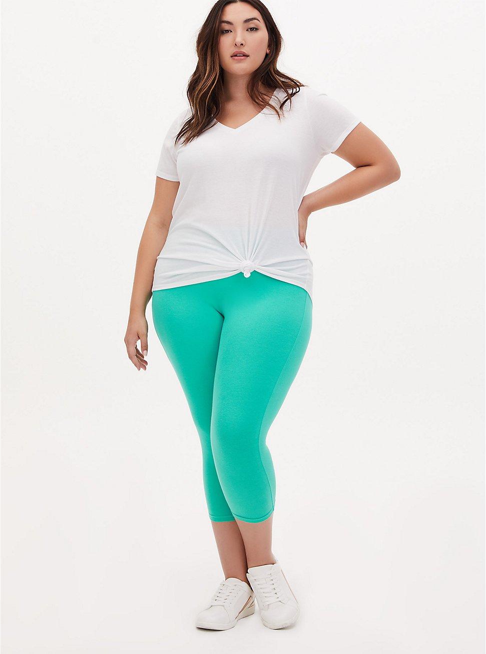 Plus Size Capri Premium Legging - Turquoise, GREEN, hi-res