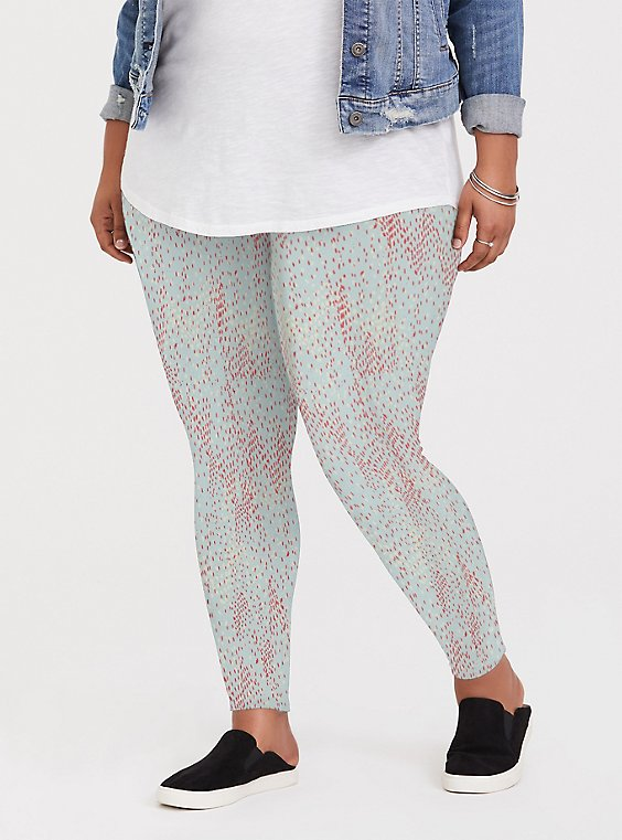 Plus Size Premium Legging - Multi Dots & Mint Blue , , hi-res