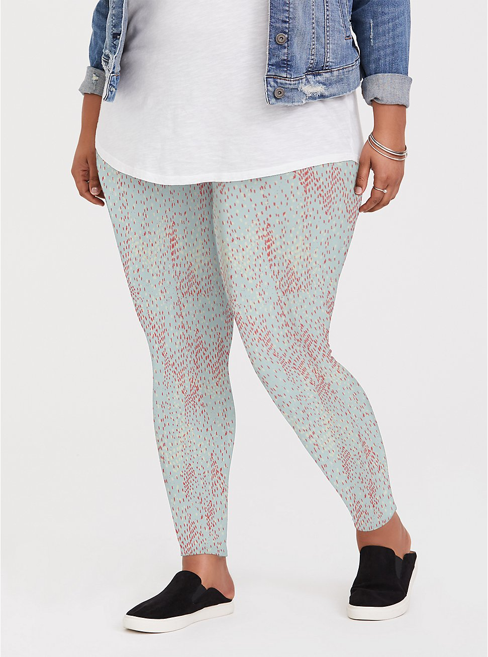 Plus Size Premium Legging - Multi Dots & Mint Blue , GREY, hi-res