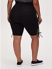 Black Lace-Up Maternity Bike Short, BLACK, alternate