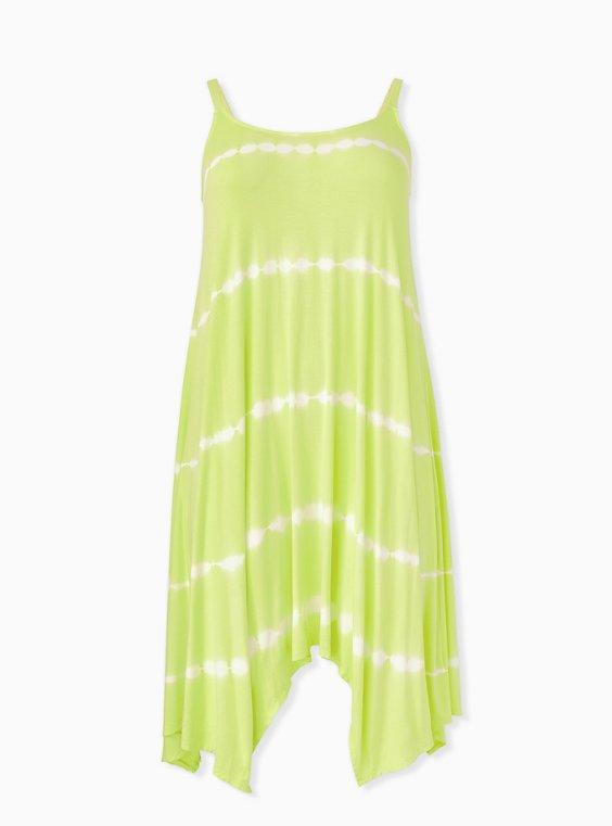 Lemon Yellow Tie-Dye Handkerchief Trapeze Dress, , hi-res