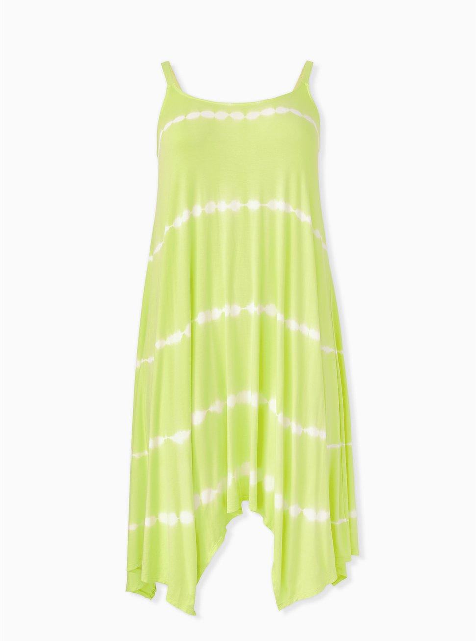 Lemon Yellow Tie-Dye Handkerchief Trapeze Dress, TIE DYE, hi-res