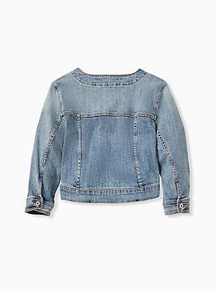 Plus Size Crop Collarless Denim Jacket - Light Wash, LIGHT WASH, alternate