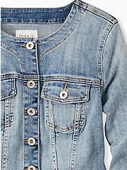Crop Collarless Denim Jacket - Light Wash, LIGHT WASH, alternate