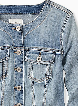 Crop Collarless Denim Jacket - Light Wash, LIGHT WASH, alternate