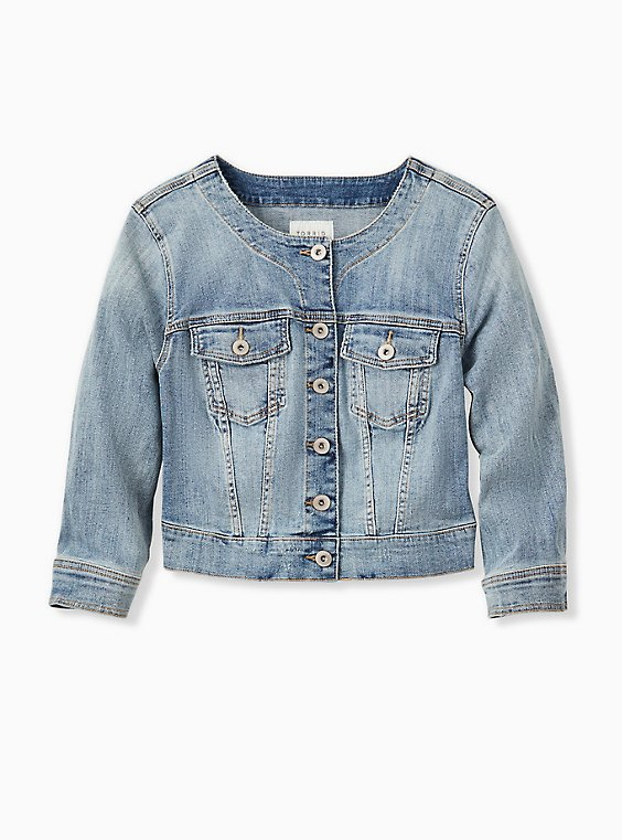 Plus Size Crop Collarless Denim Jacket - Light Wash, , hi-res