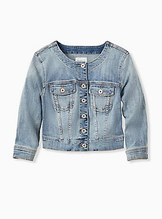 Crop Collarless Denim Jacket - Light Wash, LIGHT WASH, hi-res