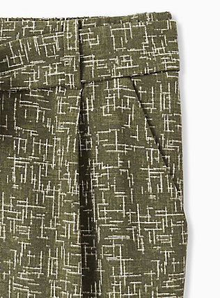 Olive Green & Ivory Lines Crepe Tie Front Tapered Pant, DEEP DEPTHS, alternate