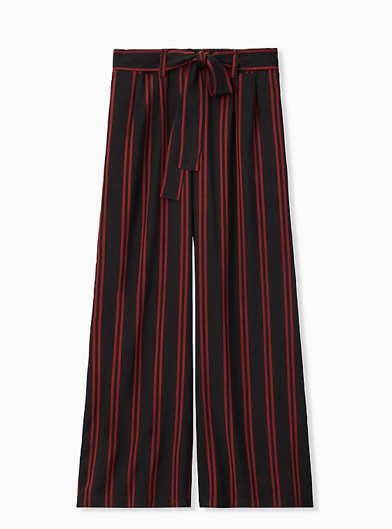 Plus Size Black & Red Stripe Challis Self Tie Wide Leg Pant, , hi-res