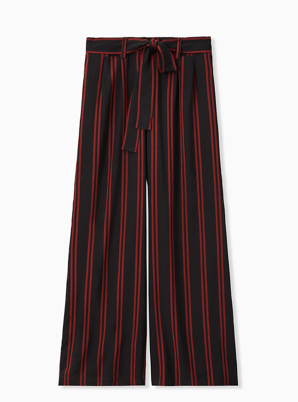 Black & Red Stripe Challis Self Tie Wide Leg Pant, STRIPES, hi-res
