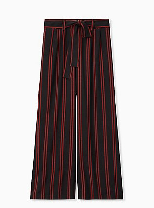 Black & Red Stripe Challis Self Tie Wide Leg Pant, STRIPES, hi-res