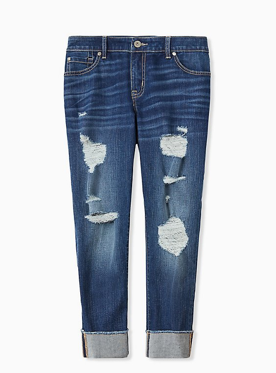 Crop Boyfriend Jean - Vintage Stretch Medium Wash, , hi-res