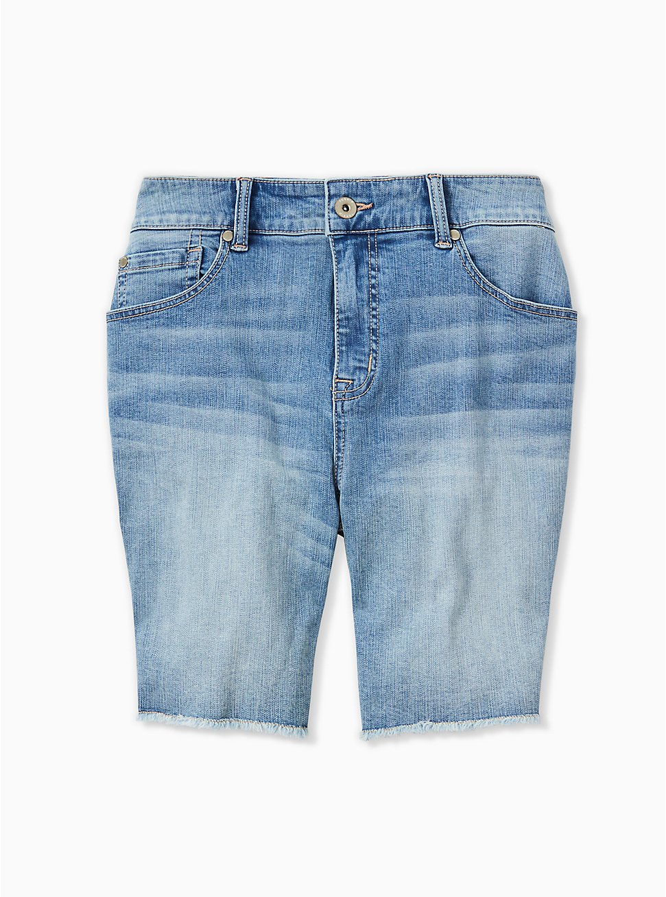 Plus Size High Rise Bermuda Short - Vintage Stretch Medium Wash, CITY GAMES, hi-res