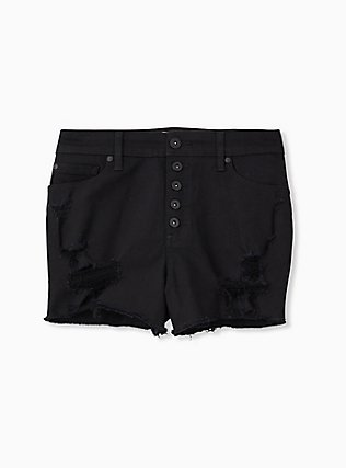 High Rise Short Short - Vintage Stretch Black, BLACK, hi-res