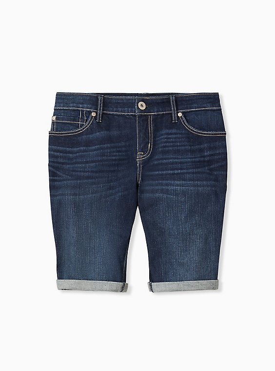 Low Rise Bermuda Short - Vintage Stretch Dark Wash, , hi-res
