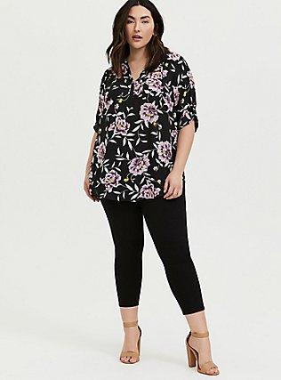 Plus Size Harper - Black Floral Georgette Pullover Tunic, FLORALS-BLACK, alternate