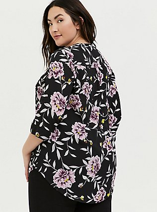 Harper - Black Floral Georgette Pullover Tunic, FLORALS-BLACK, alternate