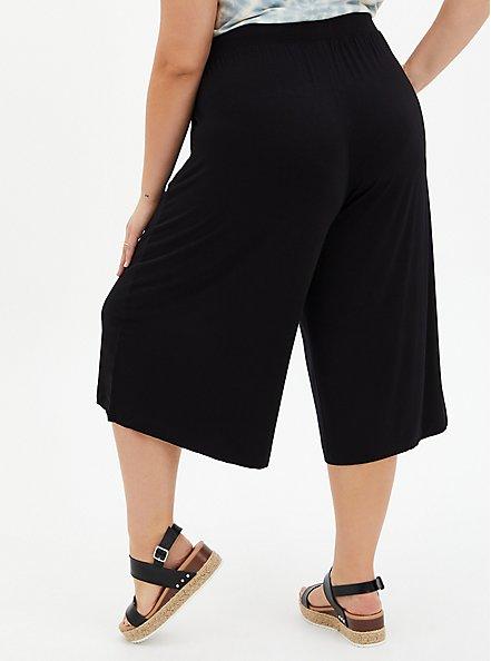 Super Soft Black Culotte Pant , DEEP BLACK, alternate