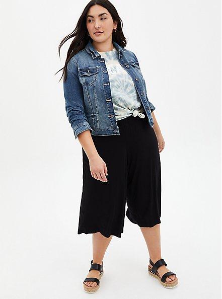 Plus Size Super Soft Black Culotte Pant , DEEP BLACK, alternate