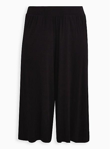 Super Soft Black Culotte Pant , DEEP BLACK, hi-res