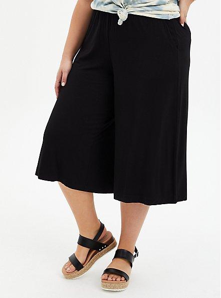 Plus Size Super Soft Black Culotte Pant , DEEP BLACK, hi-res