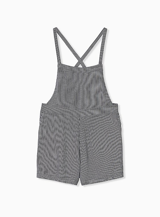Plus Size Shortall - Crepe Stripe Black, , hi-res