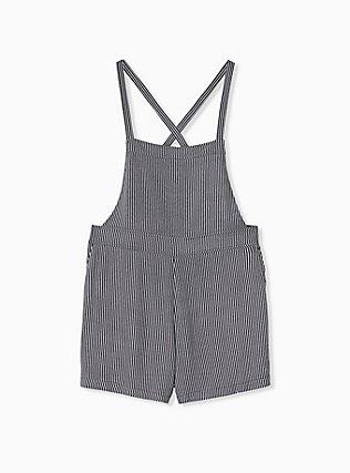 Shortall - Crepe Stripe Black, STRIPES, hi-res