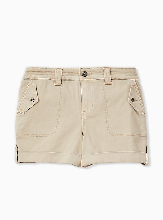Military Short Short - Twill Khaki Brown, KHAKI, hi-res