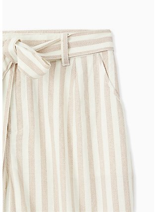 Tan & Ivory Stripe Linen Self Tie Wide Leg Pant , STRIPES, alternate