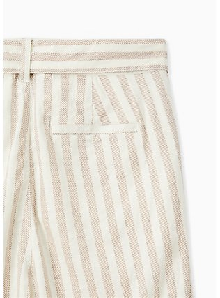 Plus Size Tan & Ivory Stripe Linen Self Tie Wide Leg Pant , STRIPES, alternate