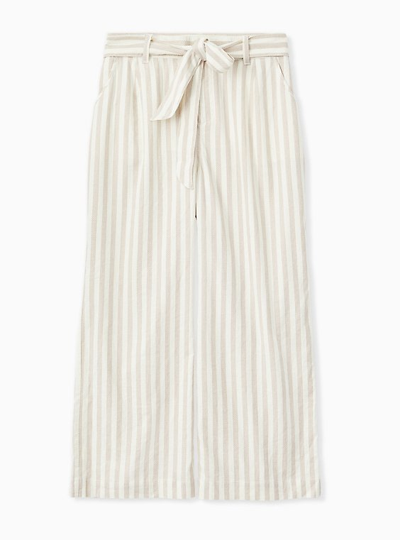 Plus Size Tan & Ivory Stripe Linen Self Tie Wide Leg Pant , , hi-res