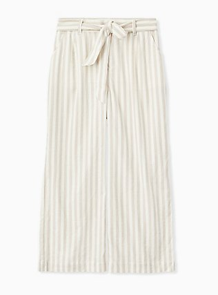 Plus Size Tan & Ivory Stripe Linen Self Tie Wide Leg Pant , STRIPES, hi-res