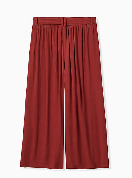Brick Red Crinkle Gauze Self Tie Culotte Pant, MADDER BROWN, alternate