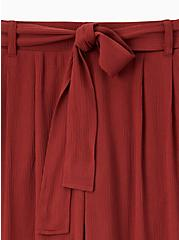 Brick Red Crinkle Gauze Self Tie Culotte Pant, MADDER BROWN, alternate