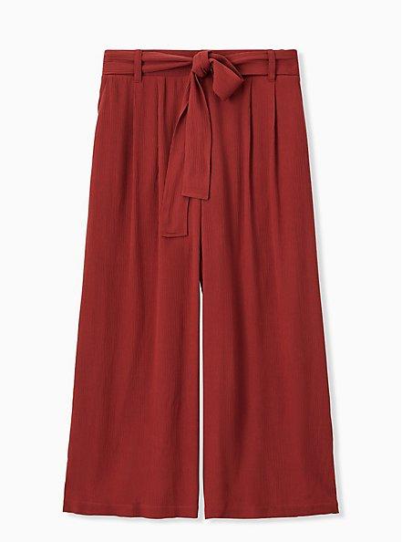 Brick Red Crinkle Gauze Self Tie Culotte Pant, MADDER BROWN, hi-res