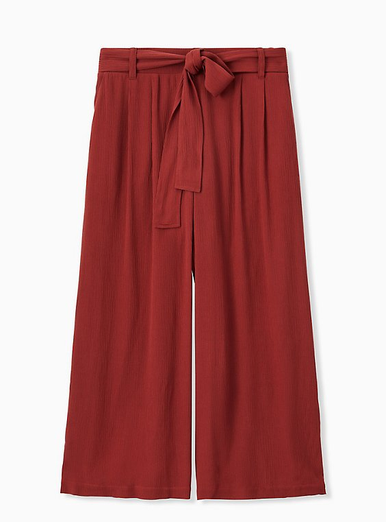 Plus Size Brick Red Crinkle Gauze Self Tie Culotte Pant, , hi-res