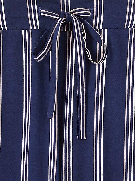 Plus Size Navy & White Stripe Challis Drawstring Crop Jogger, STRIPES, alternate