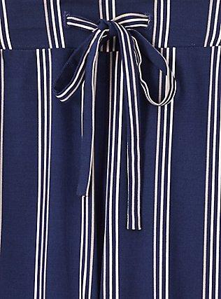 Navy & White Stripe Challis Drawstring Crop Jogger, STRIPES, alternate