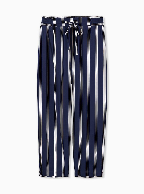 Navy & White Stripe Challis Drawstring Crop Jogger, , hi-res