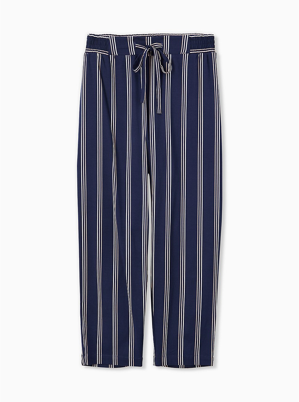 Navy & White Stripe Challis Drawstring Crop Jogger, STRIPES, hi-res